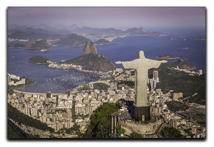 Aerial view of Christ and Botafogo Bay Canvas Print or Poster  - Canvas Art Rocks - 1