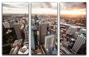 Aerial view of downtown Sydney at sunset 3 Split Panel Canvas Print - Canvas Art Rocks - 1
