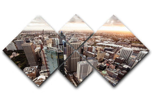 Aerial view of downtown Sydney at sunset 4 Square Multi Panel Canvas  - Canvas Art Rocks - 1
