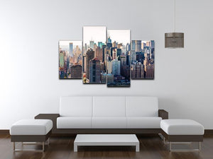 Aerial view of the New York City 4 Split Panel Canvas  - Canvas Art Rocks - 3