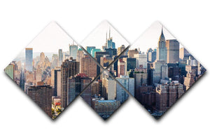 Aerial view of the New York City 4 Square Multi Panel Canvas  - Canvas Art Rocks - 1