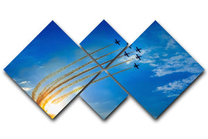 Aerobatic team performs flight 4 Square Multi Panel Canvas  - Canvas Art Rocks - 1