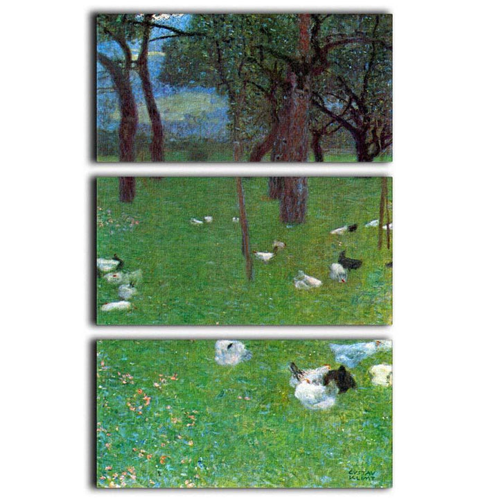 After the rain garden with chickens in St. Agatha by Klimt 3 Split Panel Canvas Print