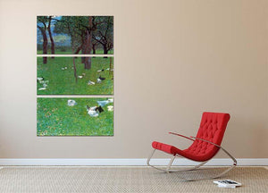 After the rain garden with chickens in St. Agatha by Klimt 3 Split Panel Canvas Print - Canvas Art Rocks - 2