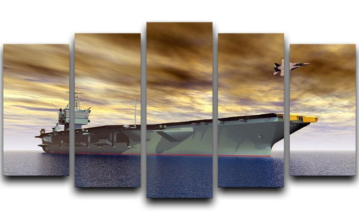 Aircraft Carrier and Fighter Plane 5 Split Panel Canvas