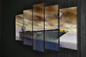 Aircraft Carrier and Fighter Plane 5 Split Panel Canvas  - Canvas Art Rocks - 2
