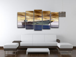 Aircraft Carrier and Fighter Plane 5 Split Panel Canvas  - Canvas Art Rocks - 3