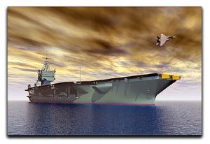 Aircraft Carrier and Fighter Plane Canvas Print or Poster  - Canvas Art Rocks - 1
