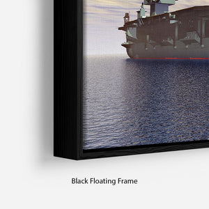 Aircraft Carrier and Fighter Plane Floating Frame Canvas