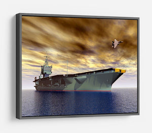 Aircraft Carrier and Fighter Plane HD Metal Print