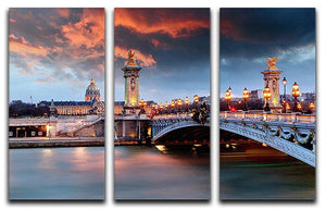 Alexandre 3 Bridge 3 Split Panel Canvas Print - Canvas Art Rocks - 1