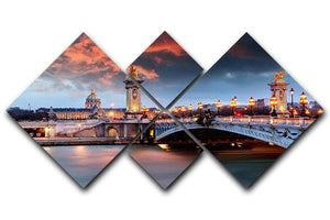 Alexandre 3 Bridge 4 Square Multi Panel Canvas  - Canvas Art Rocks - 1