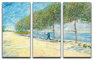Along the Seine by Van Gogh 3 Split Panel Canvas Print - Canvas Art Rocks - 1