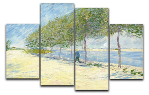 Along the Seine by Van Gogh 4 Split Panel Canvas  - Canvas Art Rocks - 1