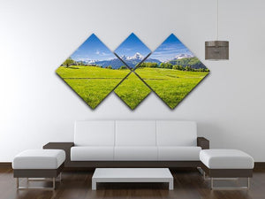 Alps with fresh green meadow 4 Square Multi Panel Canvas  - Canvas Art Rocks - 3