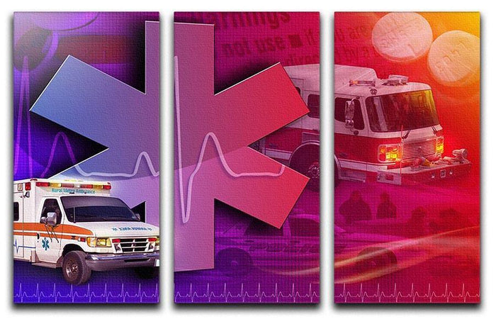 Ambulance Firetruck and Police car 3 Split Panel Canvas Print