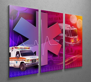 Ambulance Firetruck and Police car 3 Split Panel Canvas Print - Canvas Art Rocks - 2