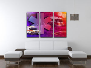 Ambulance Firetruck and Police car 3 Split Panel Canvas Print - Canvas Art Rocks - 3