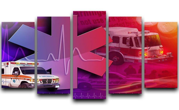 Ambulance Firetruck and Police car 5 Split Panel Canvas