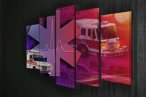 Ambulance Firetruck and Police car 5 Split Panel Canvas  - Canvas Art Rocks - 2