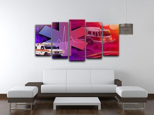 Ambulance Firetruck and Police car 5 Split Panel Canvas  - Canvas Art Rocks - 3