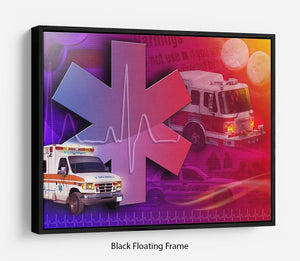 Ambulance Firetruck and Police car Floating Frame Canvas