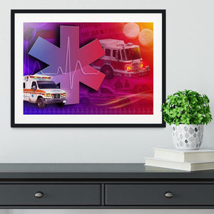Ambulance Firetruck and Police car Framed Print - Canvas Art Rocks - 1