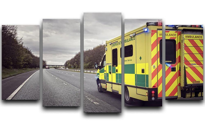 Ambulance responding to an emergency 5 Split Panel Canvas