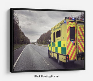 Ambulance responding to an emergency Floating Frame Canvas