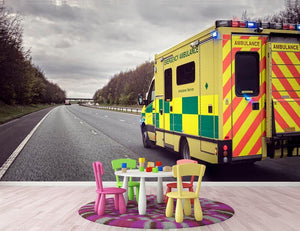 Ambulance responding to an emergency Wall Mural Wallpaper - Canvas Art Rocks - 3
