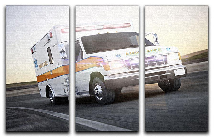 Ambulance running with lights and sirens 3 Split Panel Canvas Print