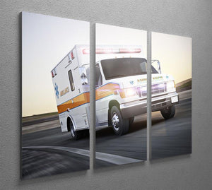 Ambulance running with lights and sirens 3 Split Panel Canvas Print - Canvas Art Rocks - 2