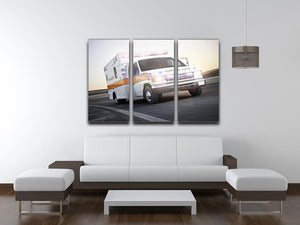 Ambulance running with lights and sirens 3 Split Panel Canvas Print - Canvas Art Rocks - 3