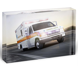 Ambulance running with lights and sirens Acrylic Block - Canvas Art Rocks - 1