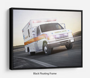 Ambulance running with lights and sirens Floating Frame Canvas