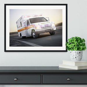 Ambulance running with lights and sirens Framed Print - Canvas Art Rocks - 1