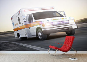 Ambulance running with lights and sirens Wall Mural Wallpaper - Canvas Art Rocks - 2