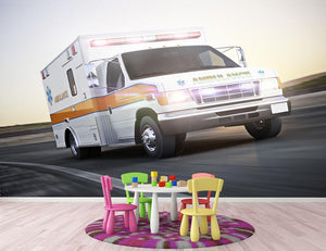 Ambulance running with lights and sirens Wall Mural Wallpaper - Canvas Art Rocks - 3