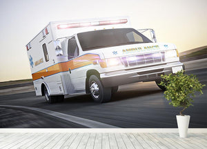 Ambulance running with lights and sirens Wall Mural Wallpaper - Canvas Art Rocks - 4