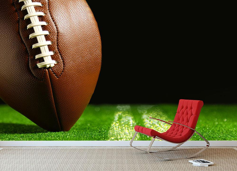 American football on green Wall Mural Wallpaper - Canvas Art Rocks - 1