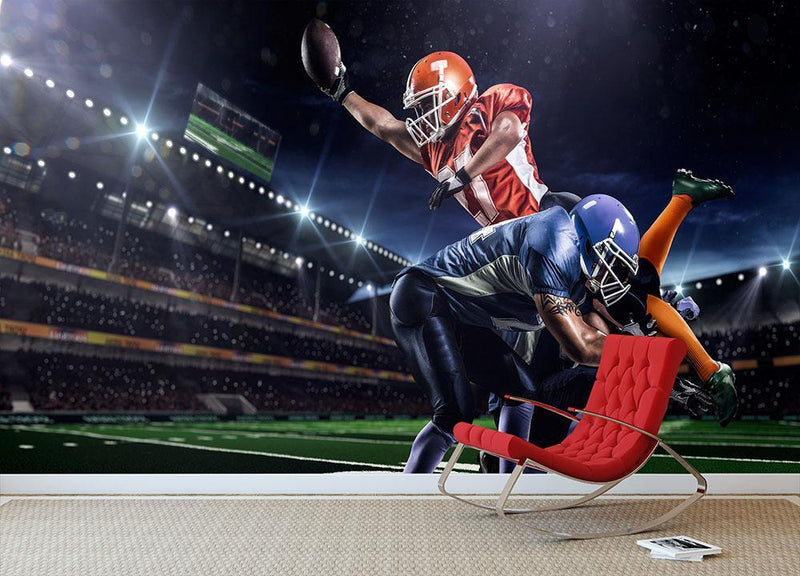 American football player in action on the stadium Wall Mural Wallpaper - Canvas Art Rocks - 1