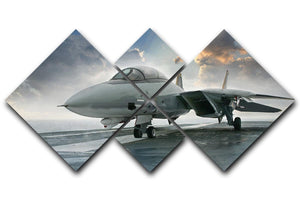 An jet fighter sits on the deck 4 Square Multi Panel Canvas  - Canvas Art Rocks - 1