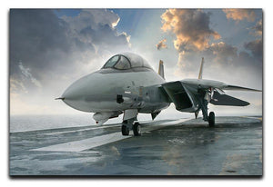 An jet fighter sits on the deck Canvas Print or Poster  - Canvas Art Rocks - 1