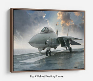 An jet fighter sits on the deck Floating Frame Canvas