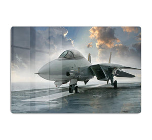 An jet fighter sits on the deck HD Metal Print