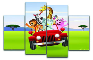 Animal Cartoon in red car 4 Split Panel Canvas  - Canvas Art Rocks - 1