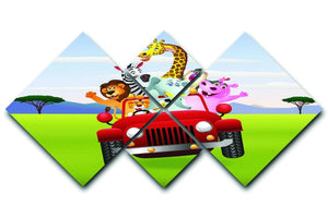 Animal Cartoon in red car 4 Square Multi Panel Canvas  - Canvas Art Rocks - 1