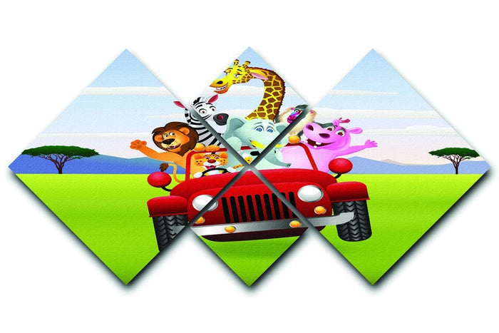 Animal Cartoon in red car 4 Square Multi Panel Canvas