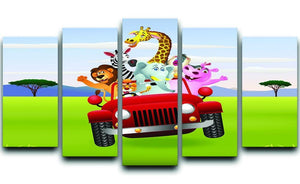 Animal Cartoon in red car 5 Split Panel Canvas  - Canvas Art Rocks - 1