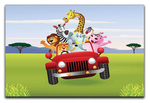Animal Cartoon in red car Canvas Print or Poster  - Canvas Art Rocks - 1